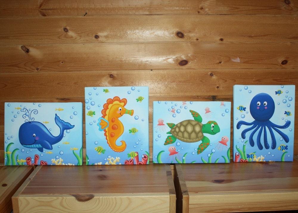 Set of 4 ocean animals kids bedroom stretched canvases kids for Canvas prints childrens bedrooms