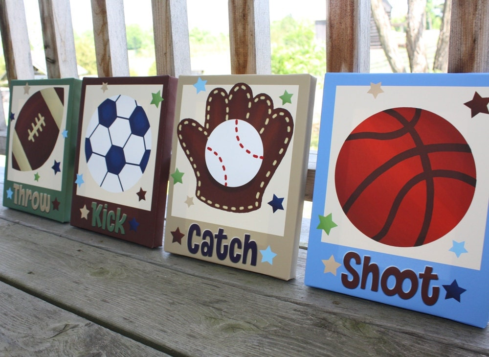 Set of 4 all star sports boys bedroom 8x10 by toadandlily for Boys wall art