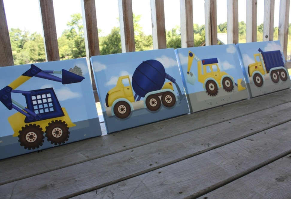Kids Canvas Wall Art set of 4 construction trucks boys bedroom stretched canvases