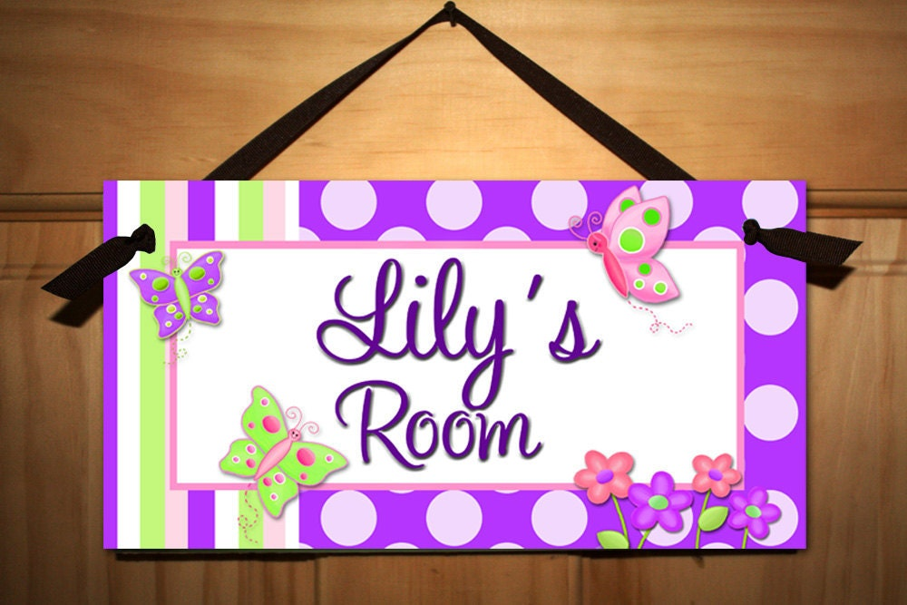 Pretty Purple Big Polka Dot Butterfly Girls Bedroom By ToadAndLily  Bedroom  Door Signs For Teenagers. Personalized Bedroom Door Signs