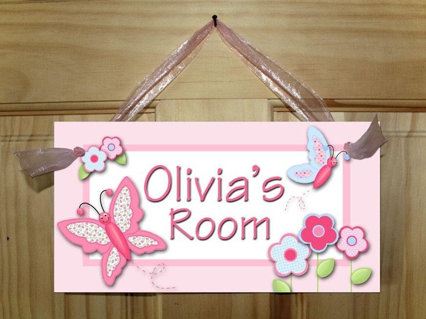 zoom. Girls Bedroom Pretty Patterned Butterfly DOOR SIGN Wall Art