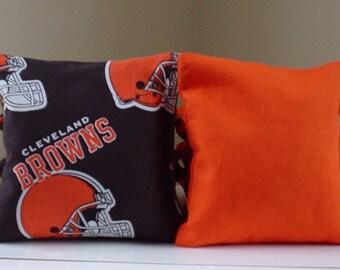Cleveland Brown Cornhole Bags  - Set of 8 Bags Baggo Bean Bag Set