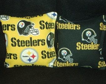 Steelers Cornhole FREE SHIPPING - Set of 8 Pittsburgh Cornhole Bags or Baggo Bean Bag Toss