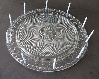 1930s Imperial Glass Tradition Birthday Cake Plate Holds 72 Candles