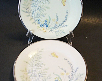 Lenox Cinderella 5 Salad or Dessert Plates Floral Butterfly Platinum Trim Discontinued