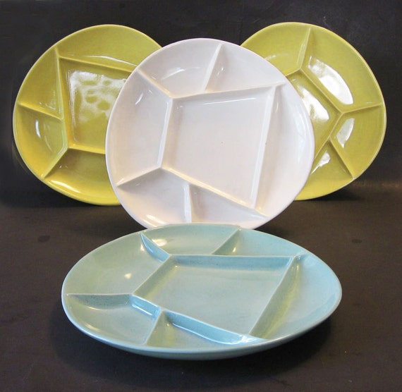 Mid Century Abstract Divided Pottery Grill Plates for Sushi Fondue Appetizers