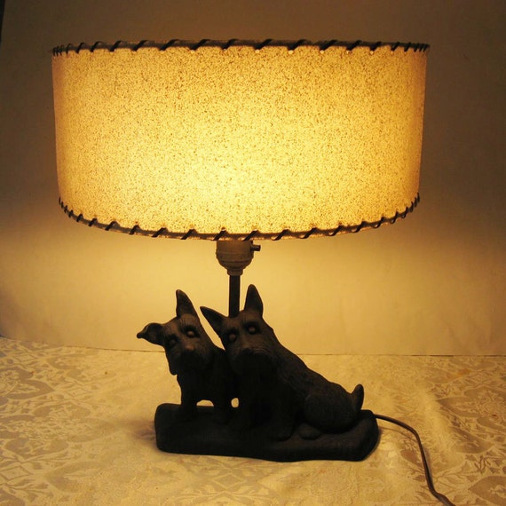 1940s Cast Iron Scottie Dogs Doorstop Lamp with Neat Half Shade