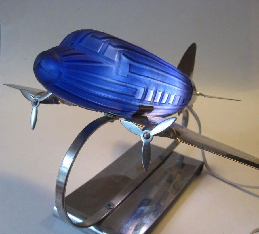 Vintage Sarsaparilla Deco Designs Cobalt Blue Glass Airplane