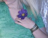 Large purple petal sparkle flower ring