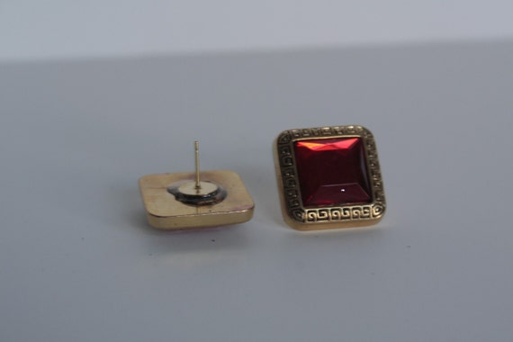 Square royal red up cycle button stud earrings