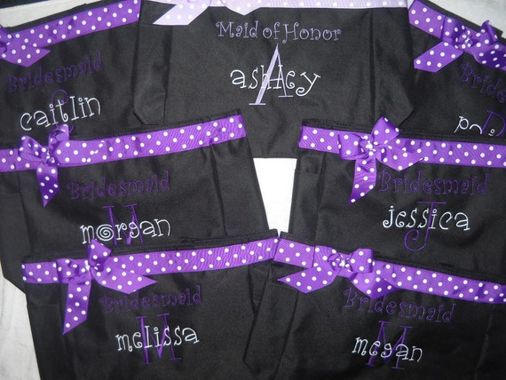 Bridesmaids gift 12 tote bags embroidered personalized  beach bags Name, and  Bride, Maid of Honor with ribbon and bow.