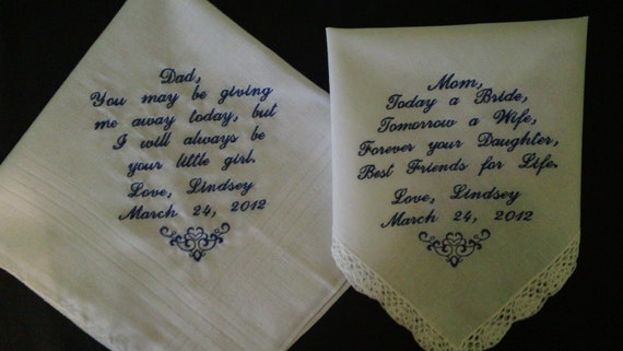 Wedding handkerchiefs for the parents of the Bride or Groom  personalized hankies. You choose 2 poems with names and date
