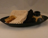 Knitted Guest Towel or Wash Cloth made from 100% Organic Cotton, set of 2 in Natural and Dark Brown Colors
