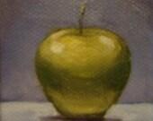 Mini Blue Apple - 2x2inch original oil daily still life painting by Rob Hazzard