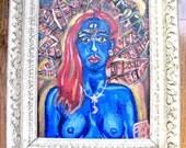 Kali Nude Frieda Kahlo Acrylic painting with vintage frame