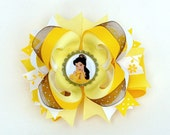 Belle Bottle Cap Layered Boutique Hair Bow - Beauty And The Beast - Perfect accessory for a Princess Halloween costume