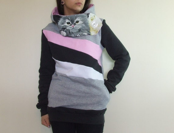 LOVECATS - Hoodie Sweatshirt Sweater - Recycled Upcycled - One of a Kind Women Small/Medium