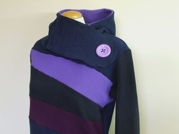 BLACK And BLUEBERRY - Hoodie Sweatshirt Sweater - Recycled Upcycled - One of a Kind Women - LARGE