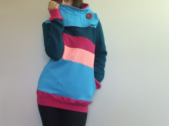 BLOCK PARTY - Hoodie Sweatshirt Sweater - Recycled Upcycled - One of a Kind Women - Small/Medium
