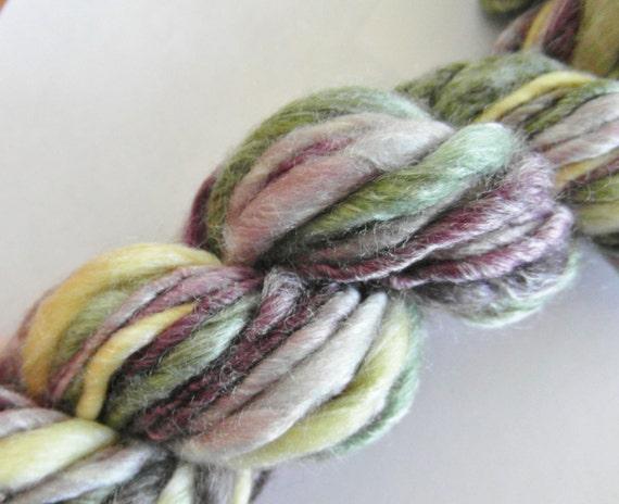 Handspun Single Ply Yarn -- Bulky / Aran weight -- Eggplant -- 47 yards