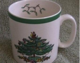 Vintage Spode Christmas Tree England Coffee Tea Mug Green Rim Red Green White