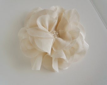organic bloom - large bridal hair piece from organic cotton