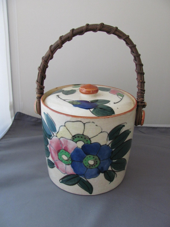 pottery biscuit jar cookie jar jar made in japan by. Black Bedroom Furniture Sets. Home Design Ideas