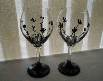 SALE 18 was 22 Hand Painted Goblets with Black Flowers