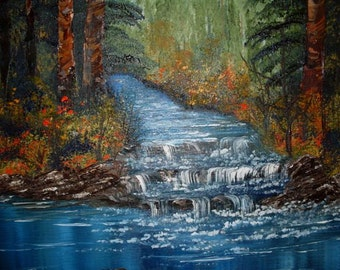 FREE SHIPPING Creek in the Forest Oil Painting