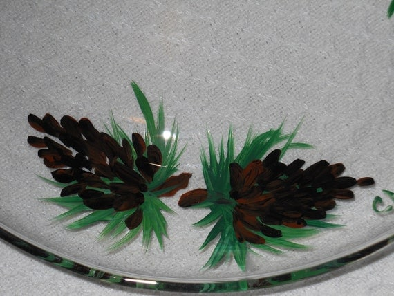 Glass Serving Plate with Pine Cones