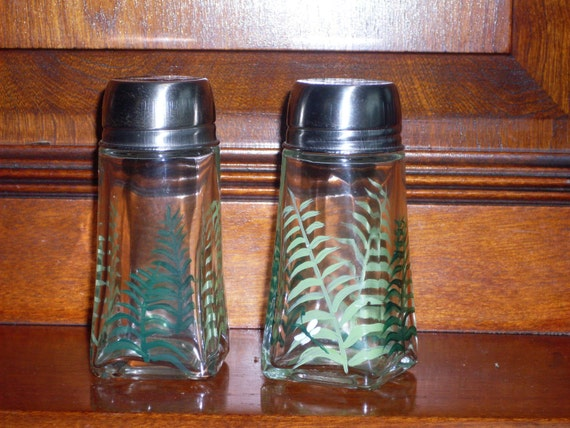 Ferns with Dragonfly Salt and Pepper Shakers FREE SHIPPING