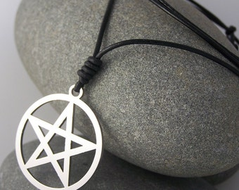 Pentagram - stainless steel pendant on natural leather cord mens or womens sacred geometry necklace.