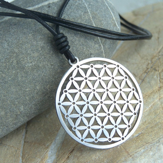 Flower of life - stainless steel pendant on natural leather cord mens or womens sacred geometry necklace.