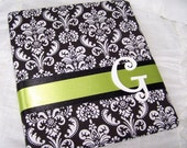 WEDDING GUEST BOOK - Black and White Damask with Green, Apple, Lime, Scrapbook Style, Custom