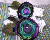 Bridal Garter Set - Peacock, Purple, Teal and Green, Custom colors available