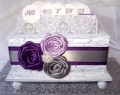 GUEST Book Box, Plum, Lilac and Gray, White Shabby Chic Box, Advice Box, Custom colors available