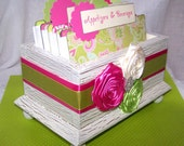 RECIPE BOX DELUXE- Hot Pink and Green, Recipe Cards and Divider Tabs - Ivory Shabby Chic Box - Custom colors available