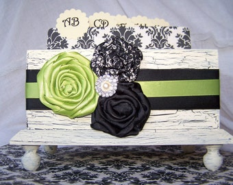 GUEST Book Box, Black and Ivory Wedding, Advice Box, Lime Green, Olive, Avacado, Ivory Shabby Chic Box, Custom colors available