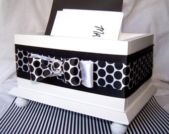 Wedding Card BOX,  Black and White Card Box, Black and White Wedding, Polka Dots, Bow, White Card Box, Wooden Card Box, Custom Colors