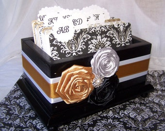 GUEST Book Box, Dividers, Advice Cards, Advice Box, Black, Gold and Silver, Custom stains and colors available