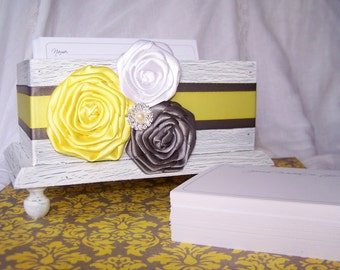 Wedding Guest Book Box Basic - Yellow and Gray, white shabby chic box, custom colors available
