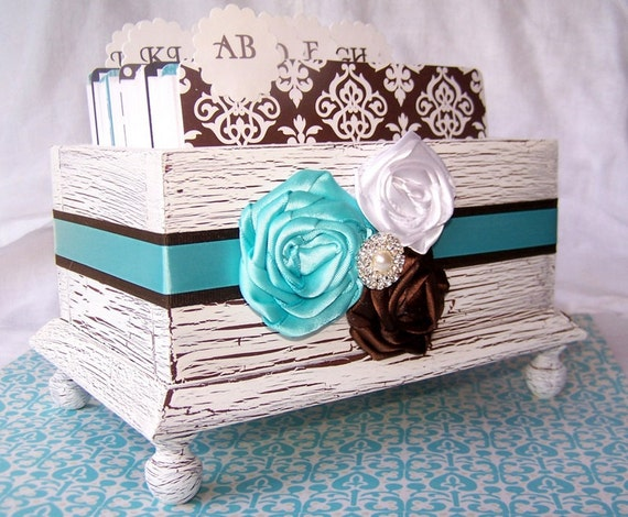 GUEST Book Box, Dividers, Cards,  Aqua Blue/Pool Blue and Brown, White Shabby Chic Box, Rustic Wedding, Custom colors available