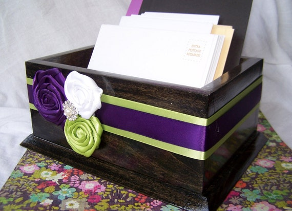 Wedding Card BOX -  Purple and Green, Wooden Card Box, Purple and Green Wedding, Fall Wedding, Ebony Stain Box, Rustic Box, Custom colors
