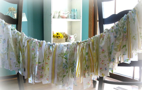 Grandmothers Aprons on Laundry Day Vintage Fabric Garland Banner Shabby Chic