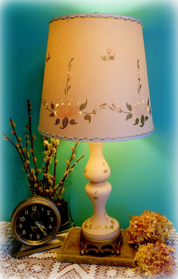 Shabby Chic Vintage Lamp Pale Pink Satin Glass 1940's  with Pierced Lampshade Pink Roses Brass Original Boudoir Fenton