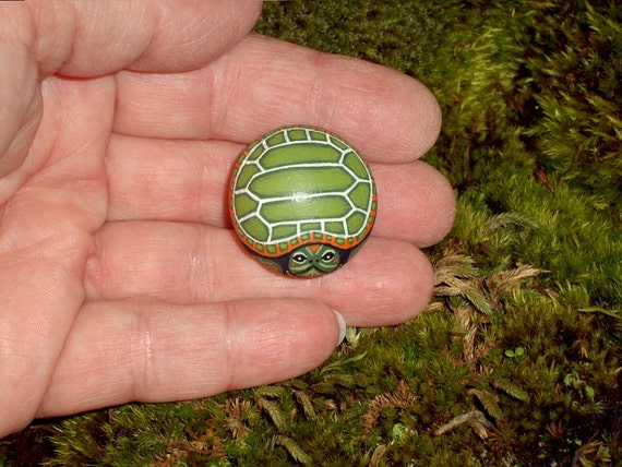 SNAPPING TURTLE Miniature Painted Rock Garden