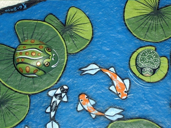 Large koi pond painted flagstone rock rock garden decor for Koi pond rocks