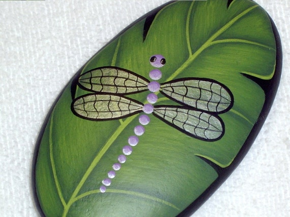 Lavender Dragonfly On Green Leaf Hand Painted Rock By