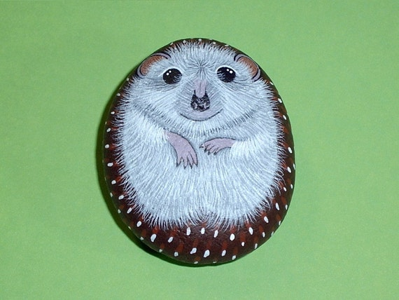 Tickle Me Tummy Hedgehog Hand Painted Rocks Pet Rock Palm