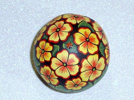 Yellow red primrose Easter basket, May Day, hand painted rocks by Rockartiste on Etsy